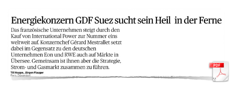 Energiekonzern GDF-Suez sucht sein Heil in der Ferne